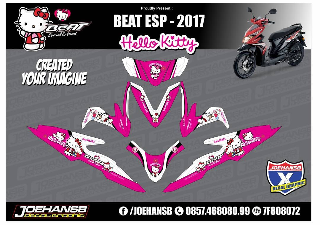 Modifikasi Striping Honda Beat Esp Hello Kitty Striping Stickers