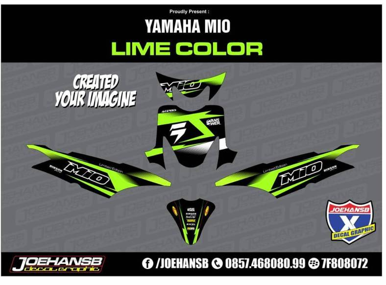 Yamaha MIO SPORTY Green Force Lime Color Striping Stickers - Mio decals
