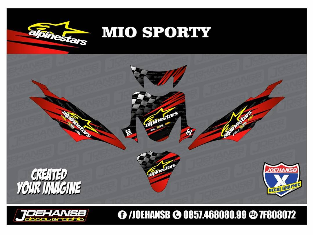 Mio sporty alpinestars racing striping stickers decals