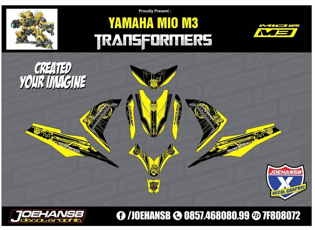 Mio MZ Transformers Yellow Striping Stickers Decals Joehansb - Mio decalsmodifikasi striping mio j striping stickers decals joehansb