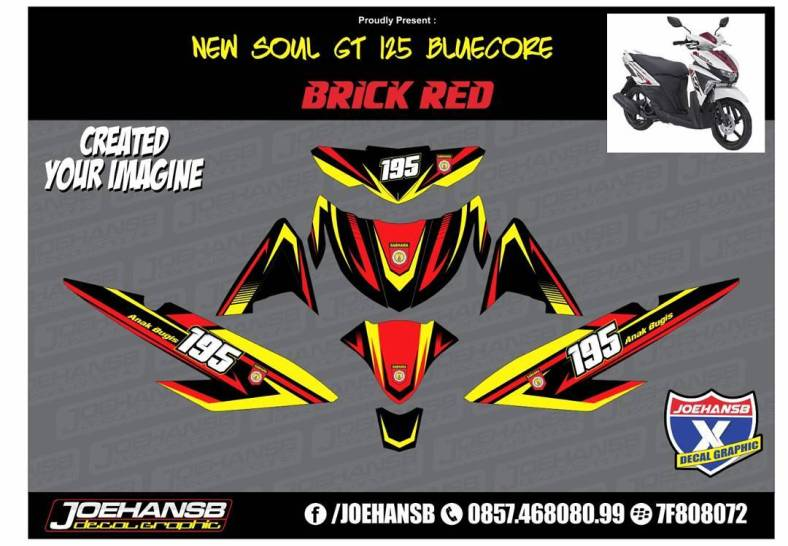 Modifikasi Striping Motor MIO Soul GT Bluecore Racing Style - Mio decals