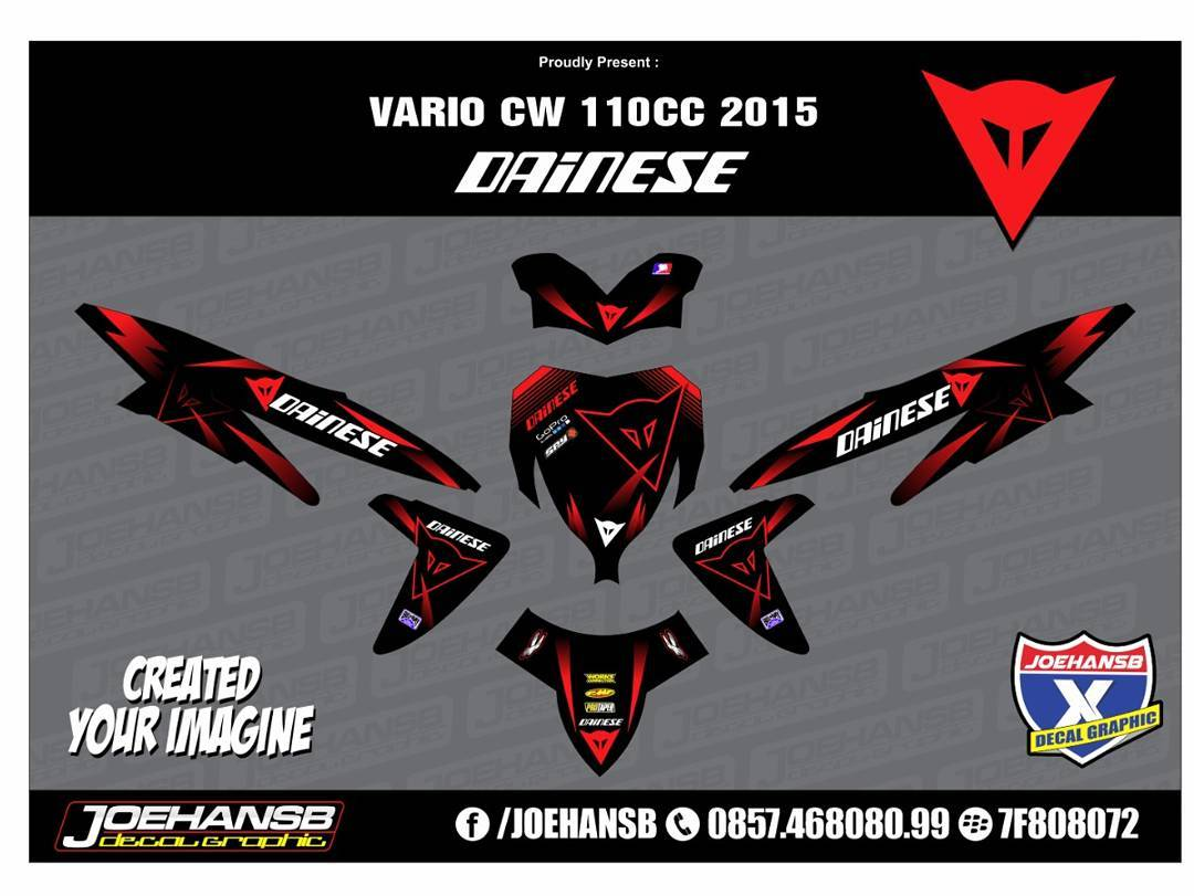 Modifikasi striping motor honda vario 110 dainese red joehansb decal graphic striping stickers decals joehansb jualdecal honda vario110 dainese