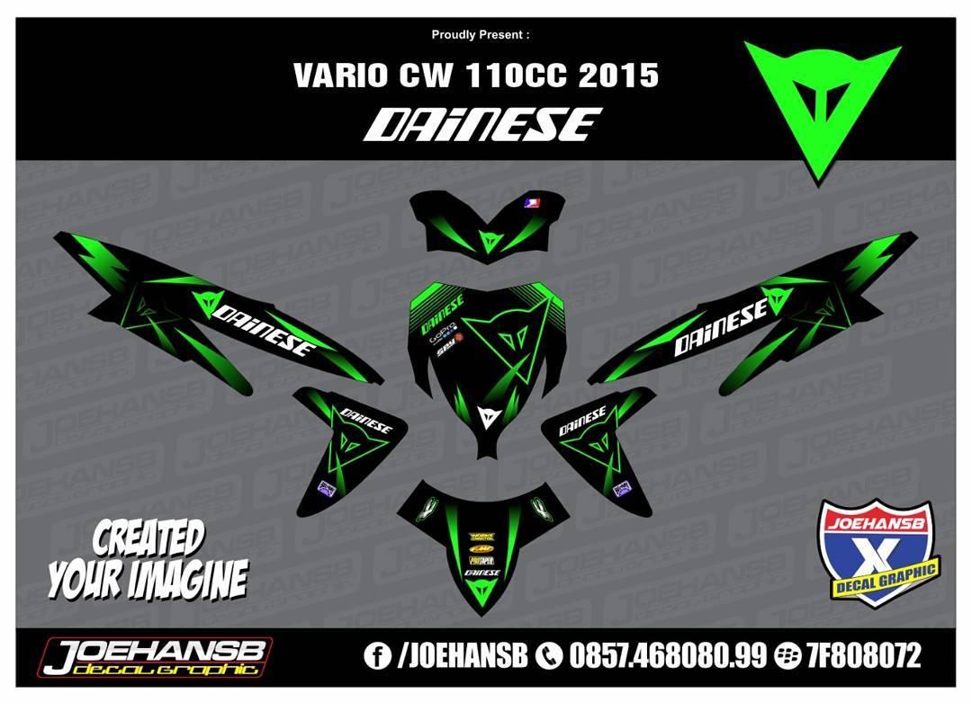 Modifikasi striping motor honda vario 110 dainese green joehansb
