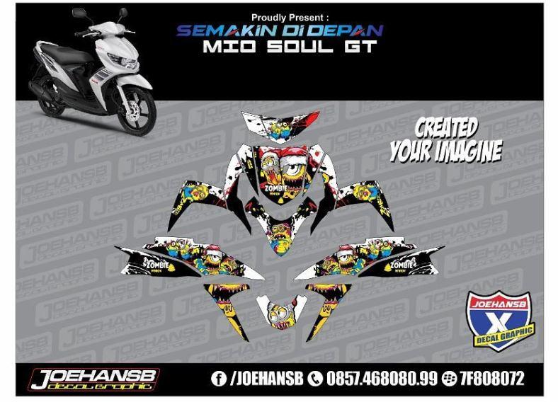 Modifikasi Striping Motor Yamaha MIO Soul GT Minion Zombie - Mio decals