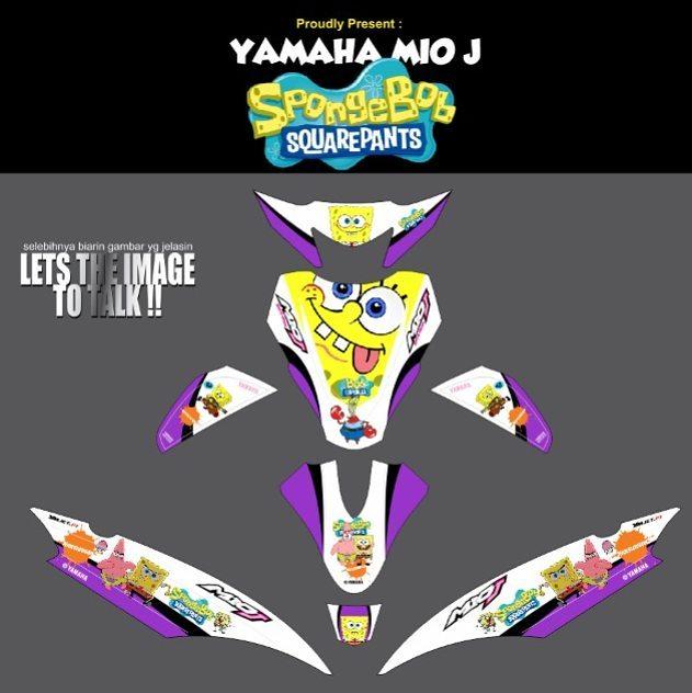 Modifikasi Striping Motor Yamaha MIO J SpongeBob Order Decal - Mio decalsmodifikasi striping mio j striping stickers decals joehansb