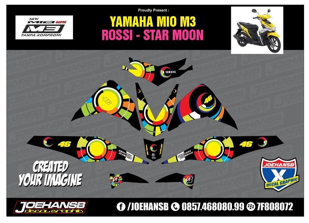 Modifikasi Striping Motor Yamaha MIO M Rossi Star And Moon Order - Mio decalsmodifikasi striping mio j striping stickers decals joehansb