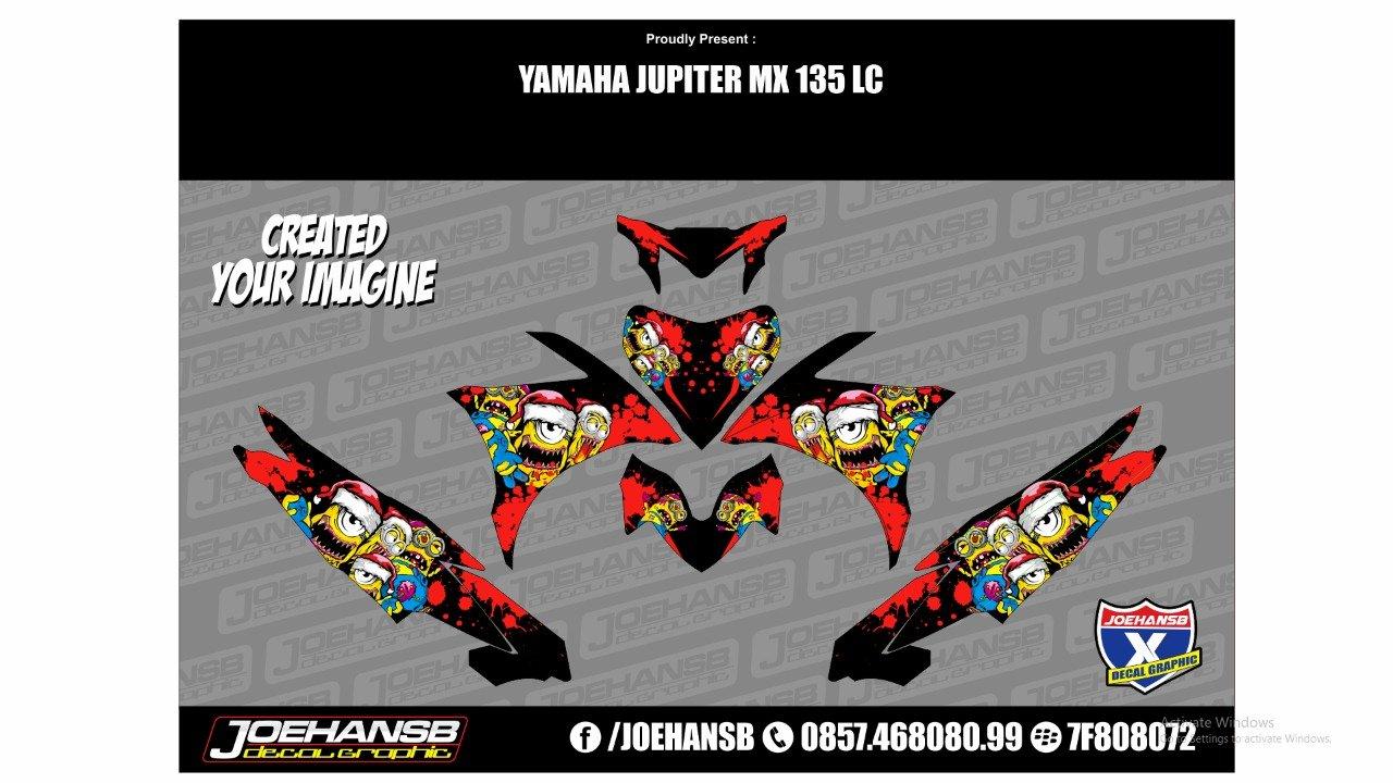 Stiker decal jupiter mx 135 motif minion zombie